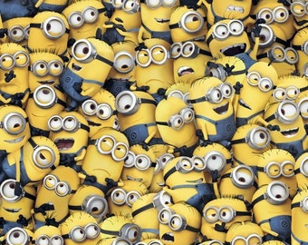 Minions Blue Yellow Packed premium cotton quilting fabric from Quilting Treasures