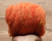 Harvest Moon Orange Needle Felting Wool, Wool Batting, Batts, Wet Felting, Spinning, Dyed Felting Wool, Fiber Art Supplies