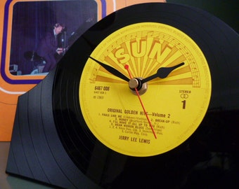 JERRY LEE LEWIS Record Clock Original 1960s Classic Rock N Roll Sun Records Vintage Vinyl Record Mantle Clock