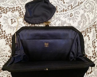 Vintage Ruched Black Magid Clutch Purse with Navy Silk Change Purse