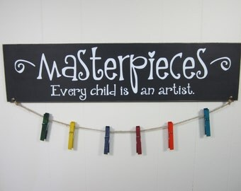 """Masterpieces Every Child is An Artist - Picasso Quote - 24"""" x 6"""" Wooden Sign w/ Vinyl Decal  - Playroom Decor - Child Artwork Hanger"""