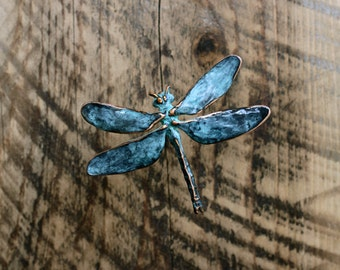 Dragonfly Wall Sculpture in copper with blue green patina