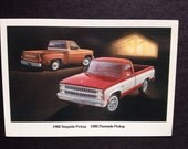 1982 Chevy Stepside Pickup and Fleetside Advertising Postcard