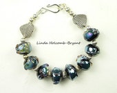 Blue Metallic Lampwork Beaded Bracelet