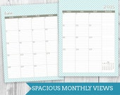 Blue Wave June 2015 - June 2016 Planner with Month Only View: DIGITAL FILE