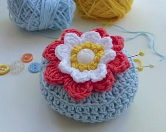Pincushion, crochet water lily pincushion, crochet flower pincushion, pin tidy, craftroom accessory, needlework gift, FREE UK shipping,