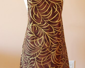 Chocolate Brown Apron with Glittering Green Leaves Print