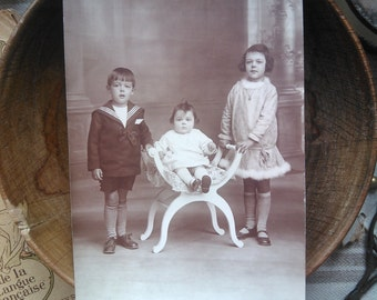 French antiques real photography postcard brother and sisters 1920s collection shabby chic victorian
