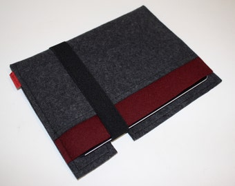 iPad Wool Felt 3mm Sleeve/Case Double Pocket in Anthracite and Burgundy