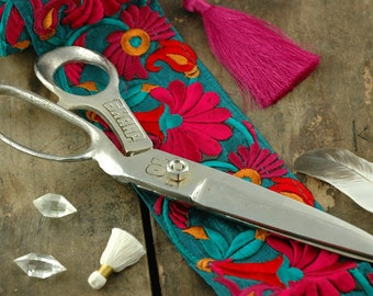 """Hand Forged Indian Dressmakers, Tailor Shears, Steel, Handmade, Utility Quality 10"""" Scissors, Steampunk, Sewing Supply, Tools for Sewing"""