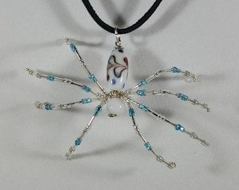 Flared White Spider Necklace