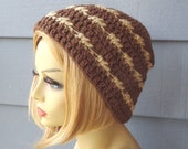 Closing SALE (RTS) / Cable Beanie Hat, Striped Hat, Unisex Hat - Brown/Taupe