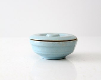 vintage blue ceramic dish with lid