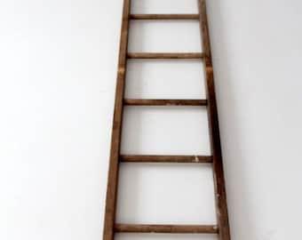 FREE SHIP  antique picking ladder, wood ladder, blanket ladder