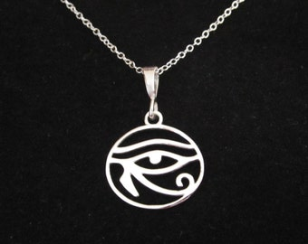 Egyptian EYE of HORUS/ RA round sterling silver pendant with necklace chain
