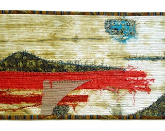 Contemporary Landscape Art, abstract landscape art, Textile Wall Art, Embroidery Beads, Turquoise Red Blue Home Decoration, office decor