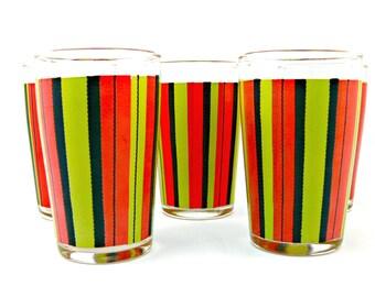 Juice Glasses - 5 - Red Chartreuse Black Stripe - Retro Juice Set - Drinkware  Glassware 1950s