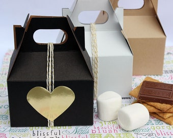 Sample Pack of Mini Gable Boxes, Party Favor Boxes, Wedding Favor Boxes, Smore's Favor Boxes - One Box