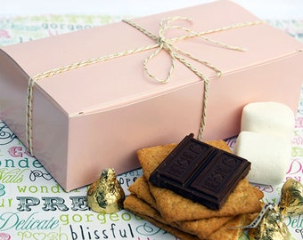 24 Party Favor Boxes, Pink Candy Boxes, Cookie Boxes, Gift Boxes, Wedding Favor Boxes - One Pound Size