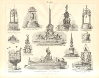 1903 Famous Fountains, Pompei, Venice, Antwerp, Braunschweig, Vienna, Nürnberg, Augsburg, Leipzig, Paris Original Antique Engraving