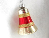 50s Bell Christmas Ornament Silver Red Chic Glass Collectible Tree