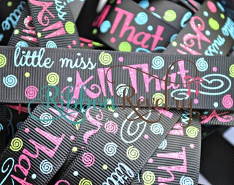 NEW Mom says ~Little Miss All That 7/8 inch grosgrain ribbon with glitter New