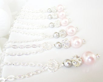 Bridesmaid Necklace Set of 6, Six Bridesmaids Jewelry Sets,Pink and Silver Pearl Necklaces,Pearl and Rhinestone Necklaces,Swarovski Pearls