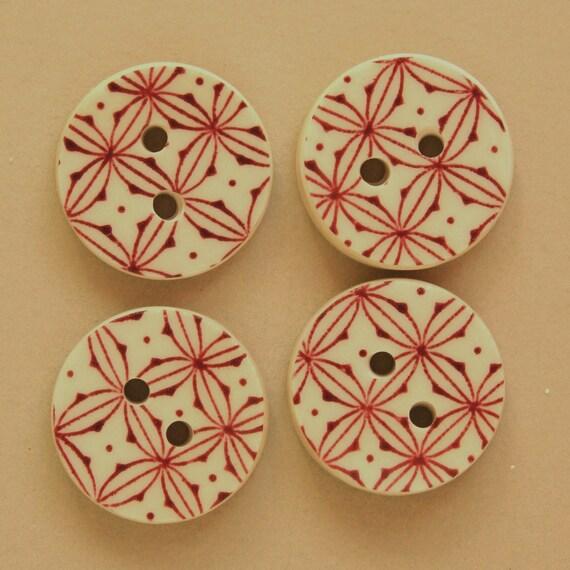 Buttons Set of 4 Round Burgundy White Sew On Broken China Handmade Shawl Coat Handbag Sweater #133