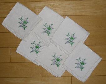 Vintage Napkins - 6 Embroidered Napkins, Floral Linen Napkins, Purple, White and Green, Small Tea Napkins, Mid Century Linens