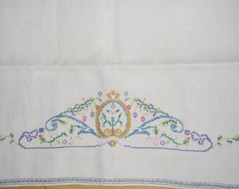 Vintage Linen Runner - Petit Point Runner, Embroidered Dresser Scarf, White Linen, Open Work Edge, Blue Embroidered Edge