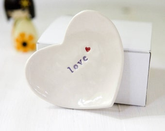 Romantic Gift 'love' Ring Dish Jewelry Catcher