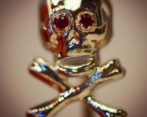 Antique Momento Mori Skull Stick Pin Ruby Eyes Sterling Silver 925