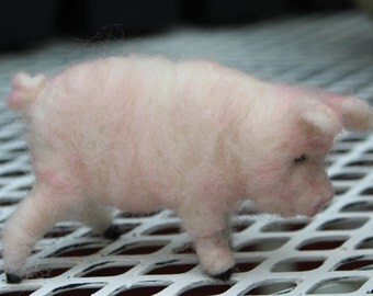 sweet little pig  wool needle felted