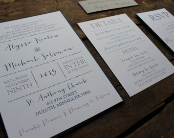 Navy and Gray Wedding Invitation, Modern and Simple, Elegant with RSVP, Details, Info Card, Calligraphy Font