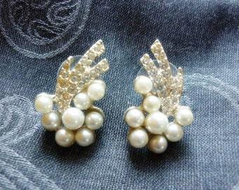 Fancy Faux Pearl pave set Rhinestones Earrings