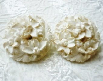 Stunning carved Orchid flower Japan Earrings,Clip on Carved Flower Earrings,Orchids