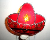 LT Stained glass Mexican Sombrero red hat night light lamp made with a beautiful red opal glass