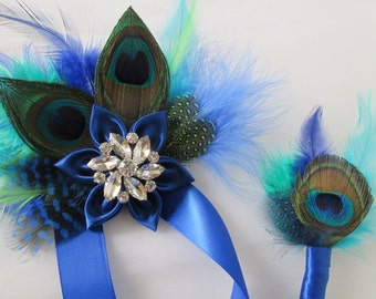 Corsage and Boutonniere Set, Royal Blue & Peacock Feather Prom Accessories, Wedding Accessories, Wrist Corsage, Peacock Boutonniere