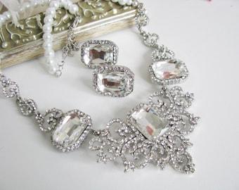 Sparkle Statement Wedding Necklace in Silver tone White Swarovski Pearl Great Bridal Wedding Pageant Jewelry