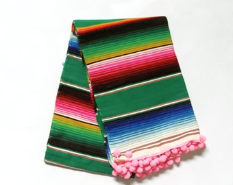Luxury Glamper Pom Medium Serape Mexican Cinco de Mayo Striped Throw Picnic Blanket, Emerald Green/Pink