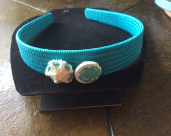 Turquoise headband turquoise beaded rose and crochted bead darling