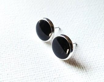 Black Earrings, Black Studs, Black Posts, Black Stud Earrings