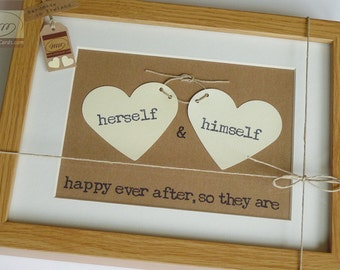 Love Hearts 2 - Wedding Keepsake - Irish Wedding - Personalised Framed Wall Art  - Handmade in Ireland