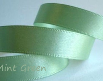 "Ribbon. Satin   Trim. Satin 7/8 "" Mint Green   Wedding Favors  Bridal Shower Gift packaging  5 yards"
