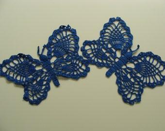 Set of 2 crochet butterflies blue or burgundy