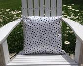 "18"" Indoor Outdoor Blue Polka Dot Oilcloth Throw/ Toss Pillow/  Decorator Pillow Cover/Porch Pillow/ Deck Pillow Patio Pillow Boat Pillow"
