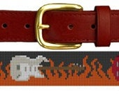Classic Rock and Roll Guitar Needlepoint Belt