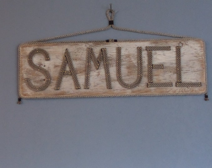 Large Sign Name MADE TO ORDER Personalize Blue Gray or White Distressed Wood Reclaimed