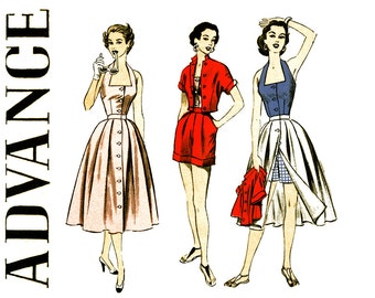 1950s Playsuit Pattern Uncut Bust 32 Advance 6394 Separates Halter Top Full Skirt Cuffed Shorts Cropped Jacket Womens Vintage Sewing Pattern