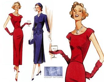 1940s Dress Pattern Uncut Vogue V1136 Reissue Evening Cocktail Party Sheath Dress and Peplum Jacket Womens Vintage OOP Sewing Patterns
